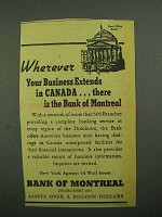 1942 Bank of Montreal Ad - Wherever Your Business