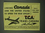 1942 Trans-Canada Air Lines Ad - Linking Canada
