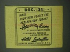 1942 Hotel Lexington Ad - New Year's Eve Reservation