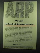 1939 A.R.P. Auxiliary Fire Service Ad - We Want