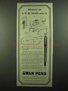 1939 Swan Visofil Pen Ad - History as S.P.B. Mais