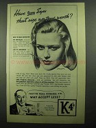 1939 K4's Cigarettes Ad - Eyes Size Up True Worth?