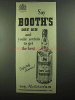 1939 Booth's Dry Gin Ad - You're Certain to Get Best