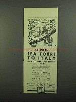 1939 Nord Lloyd Cruise Ad - Sea Tours to Italy