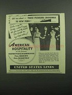 1939 United States Lines Cruise Ad - All Too Short
