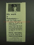 1939 Royal National Life Boat Institution Ad, Voluntary