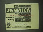 1939 Jamaica Tourism Ad - For a Wonderful Holiday