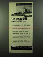 1950 Robbins & Myers Overhead Traveling Cranes Ad