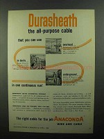 1950 Anaconda Durasheath Cable Ad - All-Purpose Cable