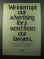 1969 Xerox Copiers Ad - A Word From Our Lawyers