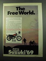 1969 Suzuki TS-250 Savage Motorcycle Ad - Free World