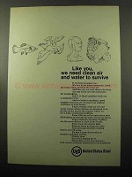 1969 United States Steel Ad - Need Clean Air and Water