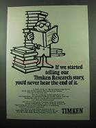 1969 Timken Bearings Ad - Our Research Story
