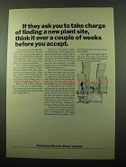 1969 American Electric Power System Ad - Plant Site