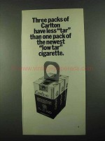 1969 Carlton Cigarettes Ad - Three Packs Have Less