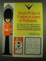 1969 Parliament Cigarettes Ad - Spend 10 Days in London