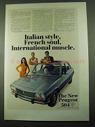 1969 Peugeot 504 Car Ad - Italian Style, French Soul