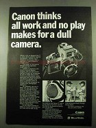 1969 Canon FT Camera Ad - All Work and No Play