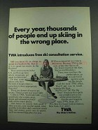 1969 TWA Airline Ad - Skiing in the Wrong Place
