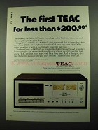 1976 Teac A-100 Cassette Deck Ad - First For Less