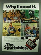 1976 RCA Sportable Model AU097 Television Ad - Need It