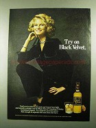 1976 Black Velvet Canadian Whisky Ad - Try On