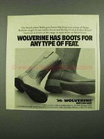 1976 Wolverine Wellington Boots Ad - Any Type of Feat