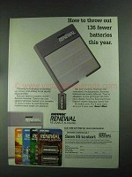 1994 Rayovac Renewal Reusable Alkaline Batteries Ad