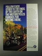 1991 BMW K75RT Motorcycles Ad - Follow Each Other