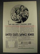 1937 United States Savings Bonds Ad - Two Can Own