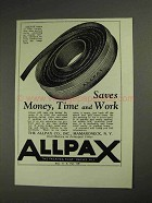 1937 Allpax Packing Ad - Saves Money, Time and Work