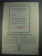 1927 National Carbon Company Ad - An Emergency