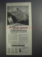 1927 Canadian National Railway Ad - Mount Robson