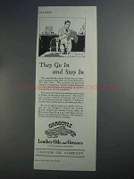 1927 Gargoyle Leather Oils and Greases Ad - Stay In