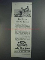 1927 Gargoyle Leather Oils and Greases Ad - Lindbergh