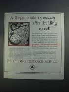 1927 Bell Long Distance Service Ad - $25,000 Sale