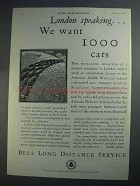 1927 Bell Long Distance Service Ad - London Speaking