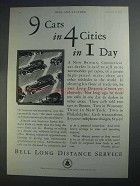 1927 Bell Long Distance Service Ad - 9 Cars in 4 Cities