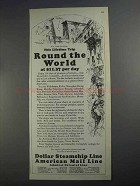 1927 Dollar Steamship American Mail Line Ad - The World