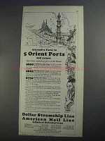 1927 Dollar Steamship American Mail Line Ad - Attractive Fares