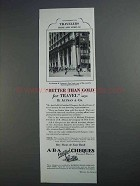 1927 ABA Cheques Ad - Better Than Gold for Travel