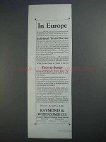 1927 Raymond & Whitcomb Cruise Ad - In Europe