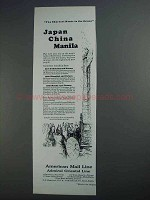 1927 American Mail Line Cruise Ad - Japan China Manila