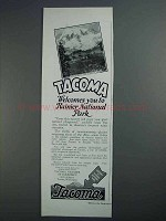 1927 Tacoma Washington Ad - Ranier National Park
