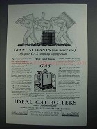 1927 Ideal Gas Boilers Ad - Giant Servants