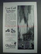 1927 Cyclone Fence Ad - Last Call Before Winter