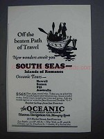 1927 The Oceanic Steamship Company Ad - Off Beaten Path