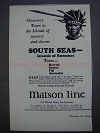 1927 Matson Line Ad - Discovery Tours to the Islands