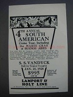 1927 Lamport & Holt Line Ad - South American Cruise
