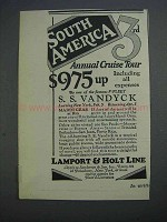 1927 Lamport & Holt Line Ad - South America